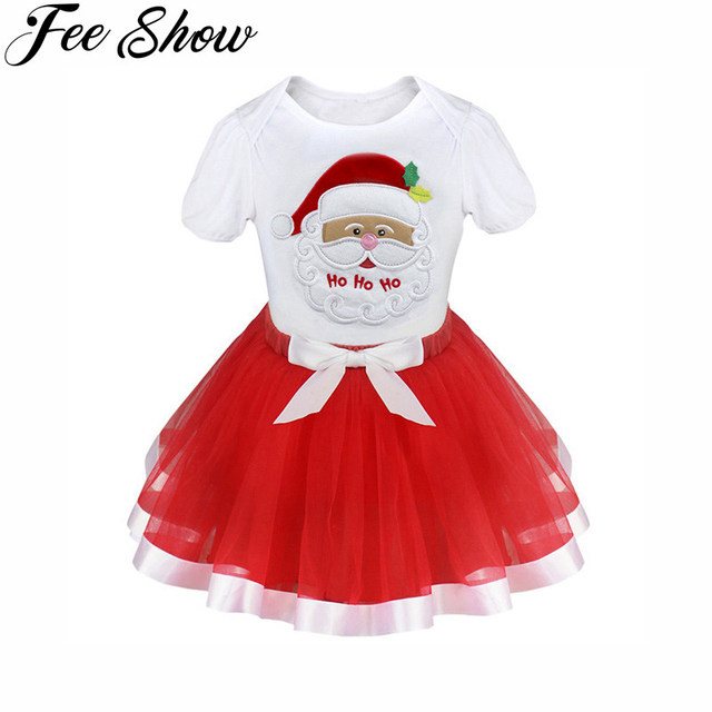 12M 5Y Cute Toddler Kids Girls Christmas Tops Dress Outfits Clothes Party Birthday Daily Casual Wear Santa Trees Reindeer Red