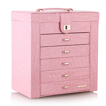 Pink Large Jewelry Box Velvet Display Organizer Girls Gift Necklace Earrings Rings Storage Case Jewellery