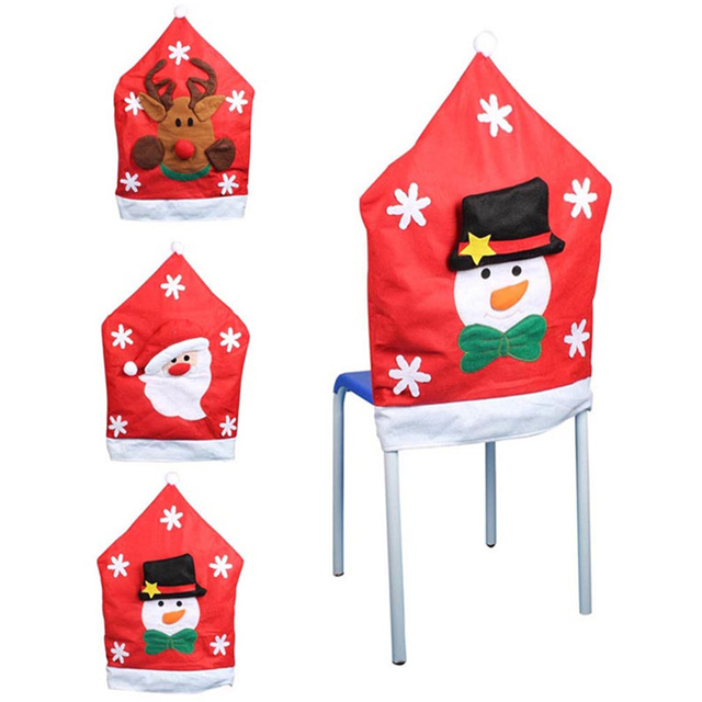 Christmas Elf Chair Covers Modern Wooden Chairs 1pcs Cute Cover No Woven Santa Claus Reindeer Pattern Dinner