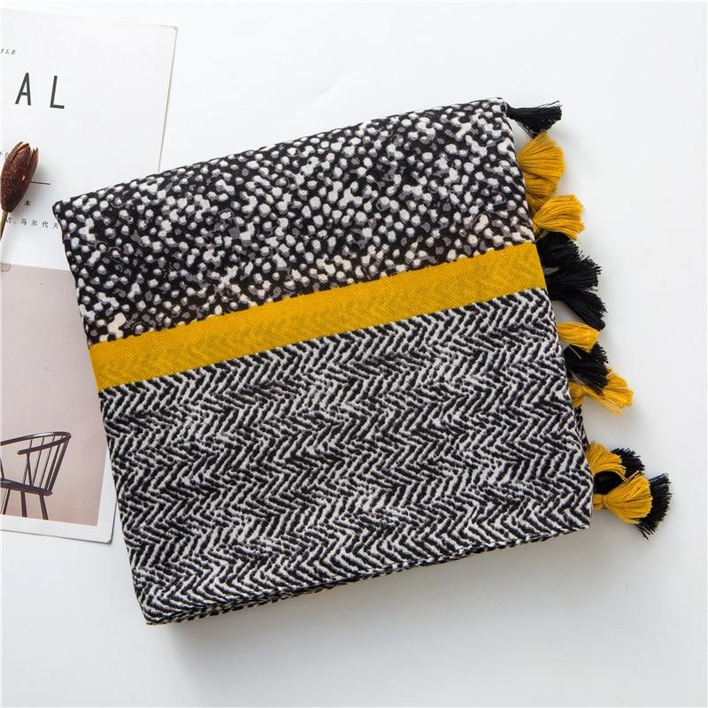 Kyqiao mori meninas outono primavera estilo japonês vintage longo amarelo impressão retalhos cachecol foulard femme casaco feminino xale