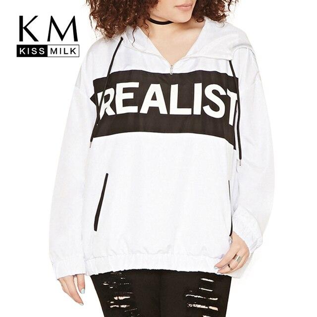 Kissmilk Плюс Размер Мода Женская Одежда Свободные Письмо Печати Уличной Одежды Большой Размер Hoddies Твердые Длинным Рукавом Свободные Топы 3XL-6XL