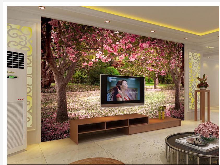 US $12.6 58% OFF|3d wandbilder Schöne kirschbaum blühende hintergrund wand  moderne wohnzimmer wallpapers Heimtextilien-in Tapeten aus Heimwerkerbedarf  ...