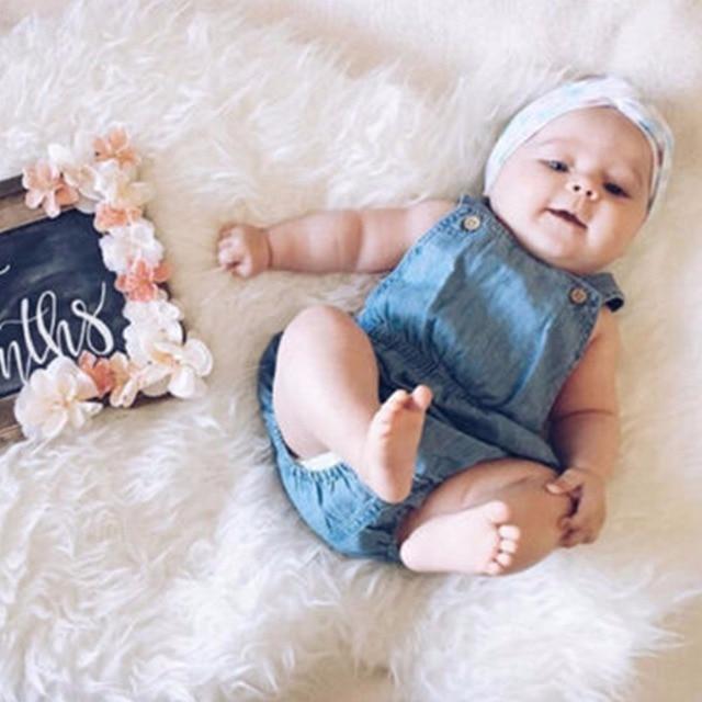 1775cbb04 Cute Baby Girl Denim Bodysuit Newborn Sleeveless Jumpsuit Sunsuit ...