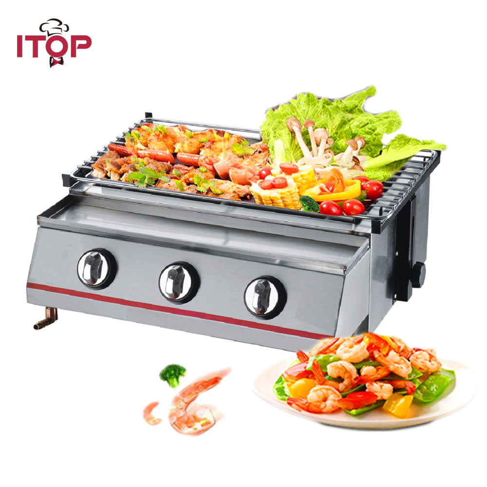 ITOP Yellow/Stainless Steel 3 Burners Gas BBQ Grills Non stick LPG Griddle Grills For Outdoor Camping Picnic Barbecue Tools