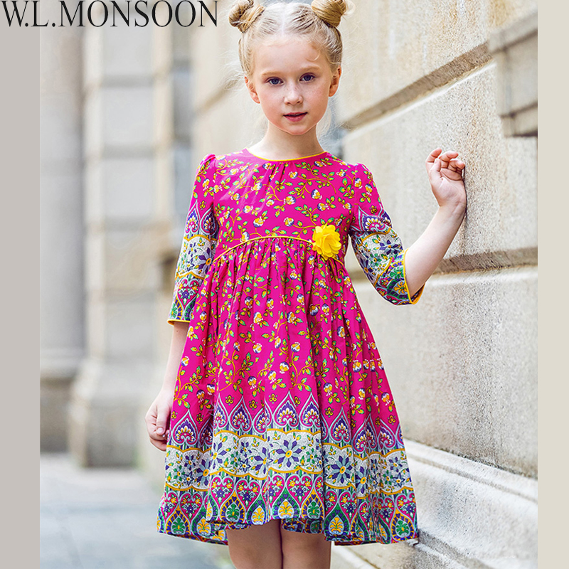 W.L.MONSOON Flower Girl Dresses Robe Enfant 2017 Brand Autumn Baby Girls Clothes Princess Dress Kids Cotton Children Dress 3-12Y little maven kids brand clothes 2017 new autumn baby girls clothes cotton bird printing girl a line pocket dress d063