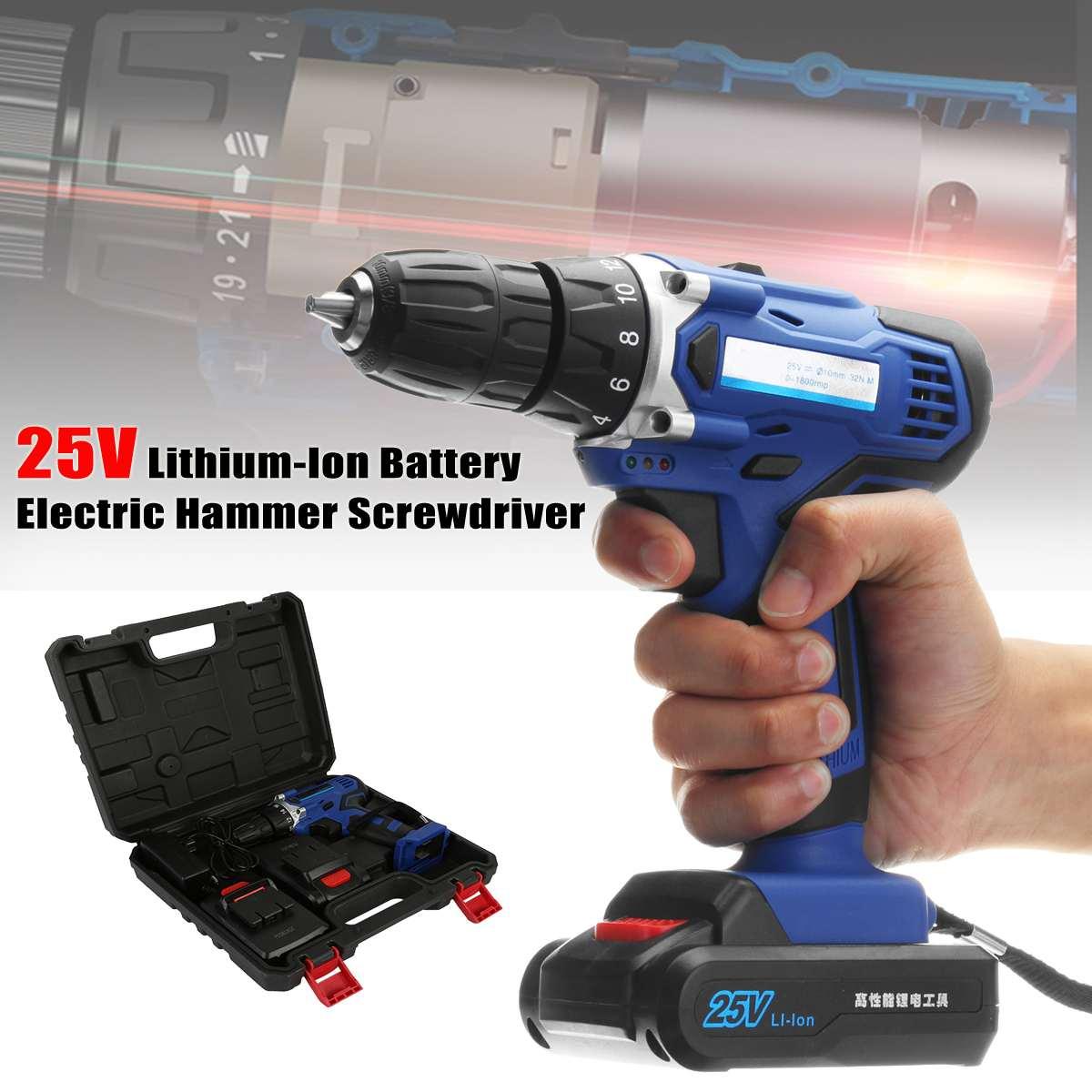 Perceuse sans fil Rechargeable marteau visseuse électrique 25 V Lithium-Ion tournevis électrique avec 2 Batteries 1 chargeur