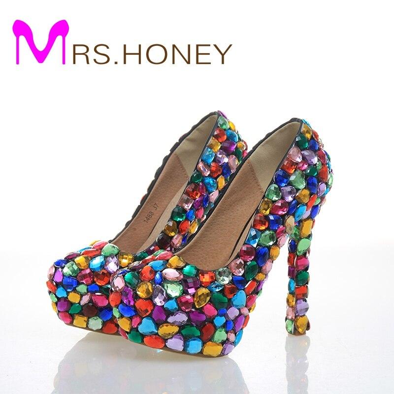 Кристалл Блеск Мода Multicolor свадебные туфли женские Платформа, высокий каблук вечерние туфли для ночного клуба танцы Туфли под платье