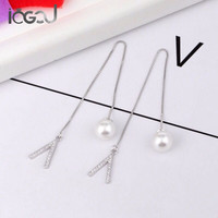 IOGOU Genuine 925 Sterling Silver Drop Earrings Simulated Pearl V Letter Women Earrings Engagement Party Show Dangle Earring