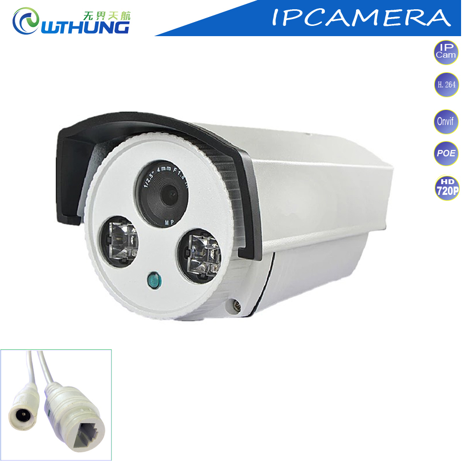 Network IP Camera 1.0MP 720P CMOS POE module CCTV Surveillance Bullet Cam outdoor waterproof 2 Array IR Lamp for security camera outdoor waterproof white metal case 1080p bullet poe ip camera with ir led for day