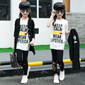 Girls Fashion Trend Long Section Coat + Jacket + Trousers Set 2017 New Korean Version 9-15 Years Old Three-piece Free Shipping