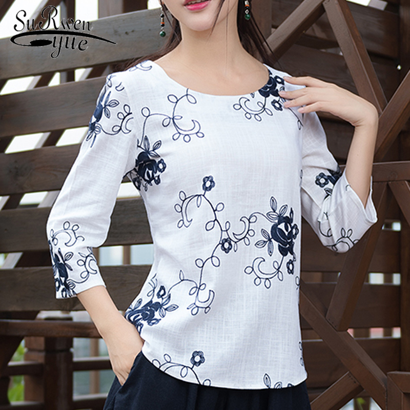 new summer cotton linen women   blouse     shirt   fashion 2019 floral embroidery women tops plus size women's clothing blusas D822 30