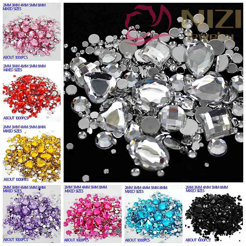 Mixed Sizes 1000pcs Many Colors Round Acrylic Loose Flatback Rhinestone Nail Art Crystal Stones For Wedding Clothing Decorations