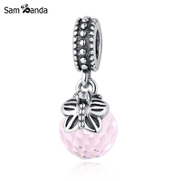 Authentic 925 Sterling Silver Bead Charms Pink Glass Murano Pendants DIY Beads Fit Pandora Bracelets Bangles