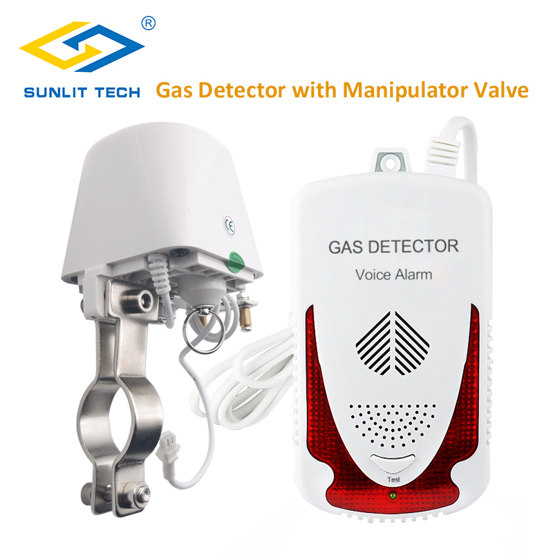 Household Combustible Natural Gas Detector LPG Gas Leak Sensor Alarm System with DN15 Manipulator Valve Auto Shut Off For Home ja8801a safety off valve kitchen wireless alarm thermal leak detector timing natural gas autoalarm self cut system valve ball