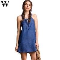 Womail Girls Sexy Bandage Sleeveless Denim Dress Blue Fashion Mini Dresses Women Strap Tank Short Dress