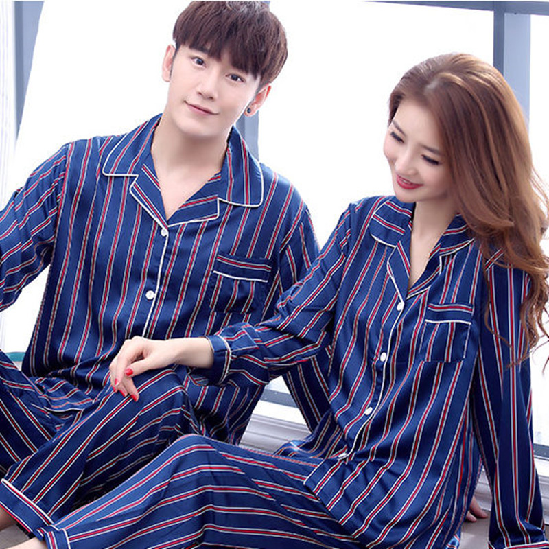 Matching Couples   Pajamas     Set   Silk Rayon Summer Stripe Pyjama Long Shirt Pants 4Piece/  Set   Stitch Lingerie Home Sleepwear