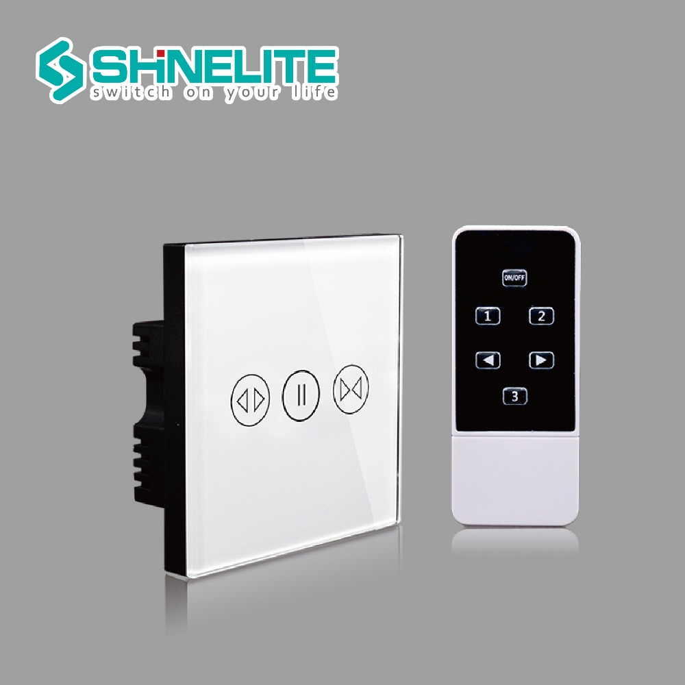 Smart House Luxury Glass Panel UK Standard Remote Control Smart Electric Touch Curtain Wall Switch With LED indicator smart home uk standard crystal glass panel wireless remote control 1 gang 1 way wall touch switch screen light switch ac 220v