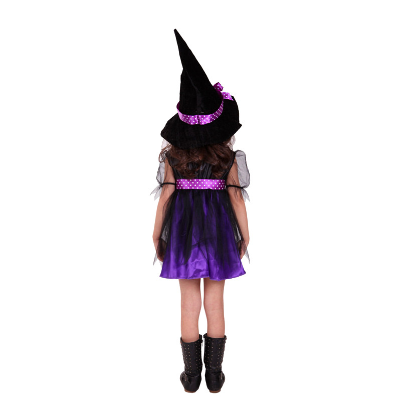 buy new kids girls purple witch cosplay halloween costumes for children kids dress hat fancy fantasia infantil clothing from reliable