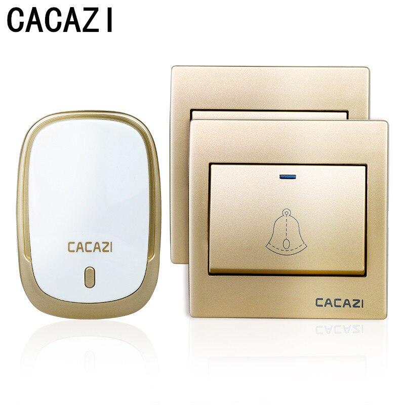 CACAZI Waterproof Wireless Doorbell Intelligent Anti-interference 300M Remote LED Light Home Deurbel 36 Chimes 4 Volume