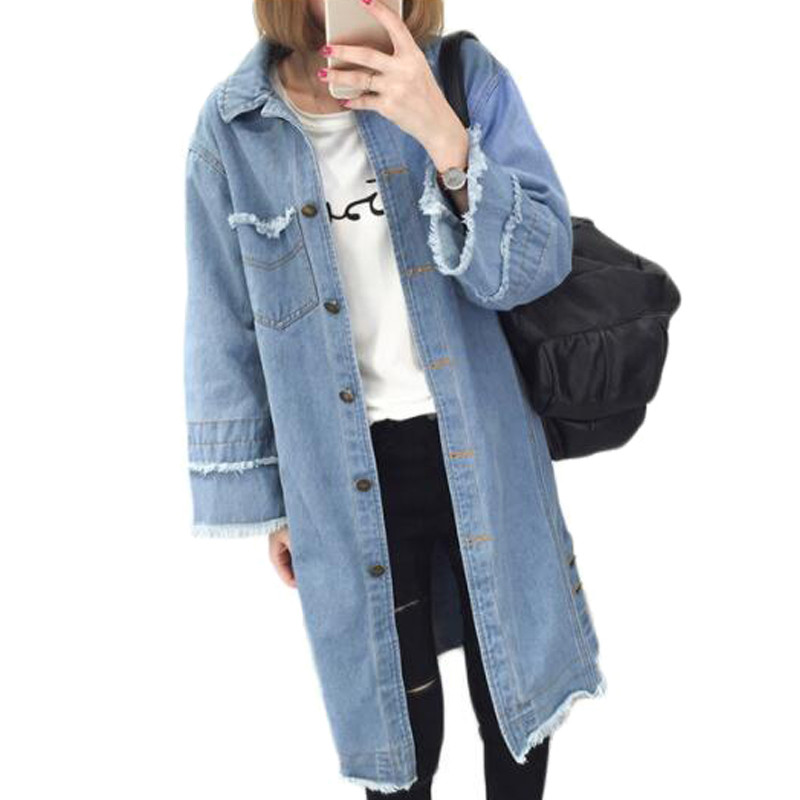 2017 Frayed Blue Long Denim Jacket Women Basic Coat Fashion Single Breasted Jeans Jacket Women Loose Outerwear Female ZY3975