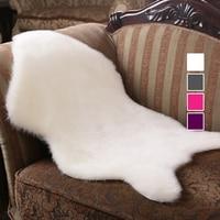 Soft Hairy Artificial Carpet Sheepskin Chair Cover Seat Pad Plain Skin Fur Plain Fluffy Area Rugs