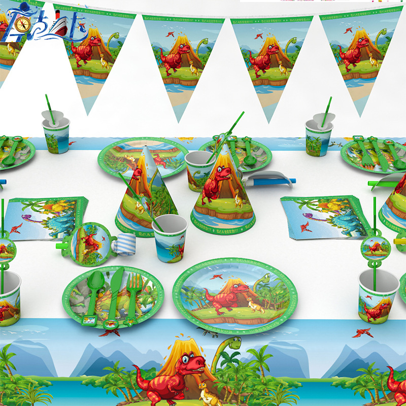 128pcs/lot Dinosaur Theme Disposable Tableware Sets For Kids Birthday Party Decorations Paper Cups Plates Napkins Party Supplies