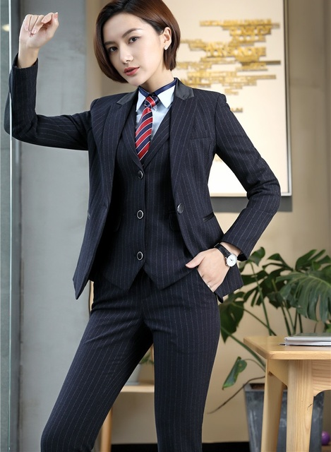 High Quality Women Business Suits Ladies 3 Piece Vest Pant And
