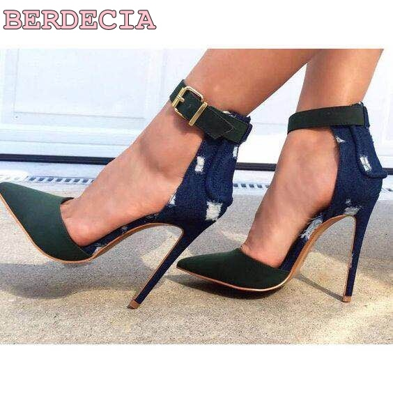 ФОТО Hot selling patchwork pointed toe sandal boots belt buckle decoration denim shoes street shoot female thin high heel boots