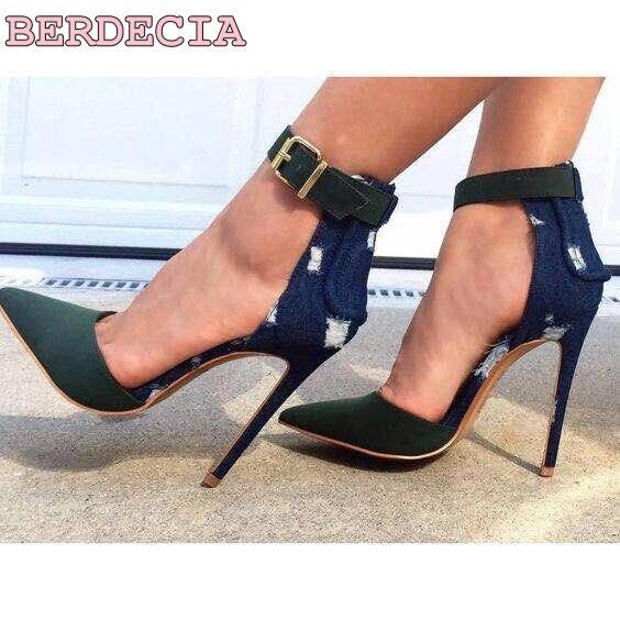 De Cinturón Picture Street As Punta Patchwork Caliente Mujer Estrecha Alto  Botas Sandalia Delgada Zapatos Shoot Tacón Denim Venta Hebilla ... d58f8222aef5