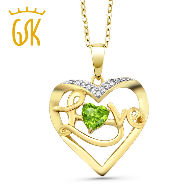 Sexy women 050 ct green peridot 18k yellow gold plated silver sexy women 050 ct green peridot 18k yellow gold plated silver diamond accent heart pendant gemstoneking aloadofball Image collections