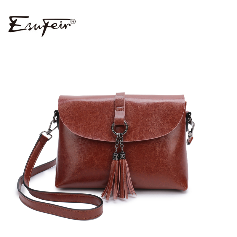 New Arrival Genuine Leather Women Bag Fashion Tassel Small Bag For Girl Simple Design Female Crossbody Bag Women Messenger Bag casual rivets and tassel design crossbody bag for women href
