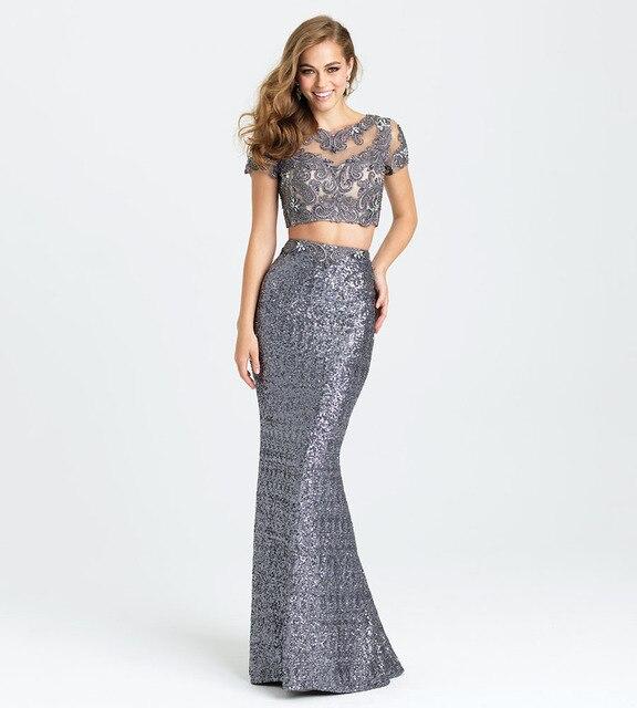 Fd302 Shining Blackredsilver Sequins Formal Dress Fashion