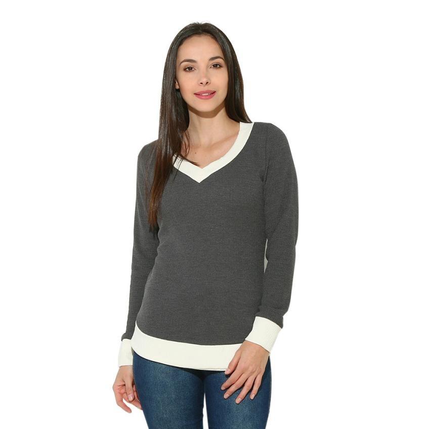Trendzone 5/24 Women V Neck Long Sleeve Casual Curve Hem Sweater Women Fashion Tops Free Shipping