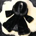 Mulheres New Arrival Real Rex Coelho Casaco De Pele Genuine Coelho Natural casaco de pele casaco Frete Grátis 31