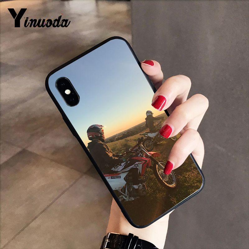 Yinuoda Moto Cross motorcycle sports Cover Black Soft Shell Phone Case for iPhone 5 5Sx 6 7 7plus 8 8Plus X XS MAX XR 10 Case in Half wrapped Cases from Cellphones Telecommunications