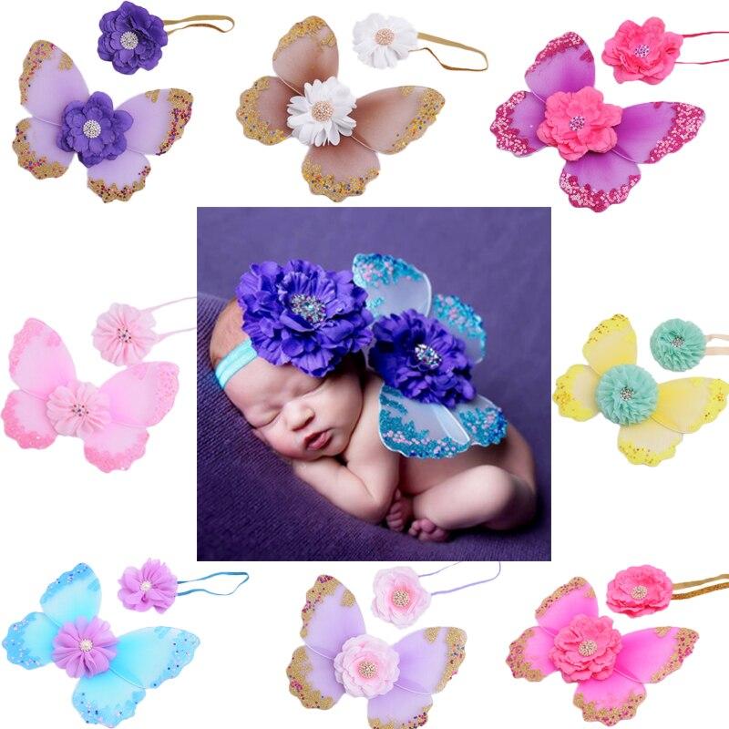 Newborn Photography Props Fairy Butterfly Baby Girl Picture Prop Headband Butterfly Wings Infant Bebe Photo Costume Accessoires temptu pro transfer sweet tribal butterfly wings трансферная татуировка