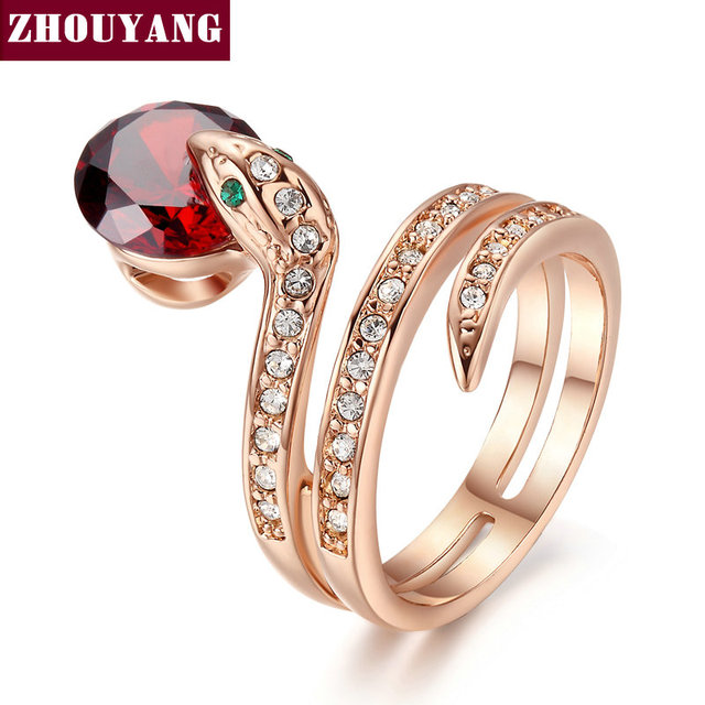 ZHOUYANG Top Quality ZYR150 Snake Show Bead Ring Rose Gold Color Austrian Crysta