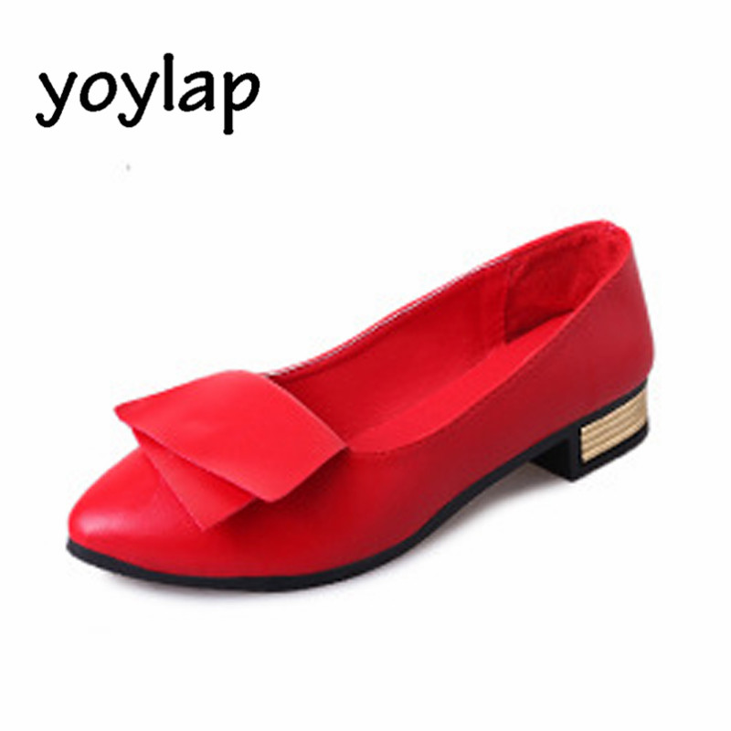 Women's Shoes 2018 Spring New Bow Tie Metal Decoration Single Flat Heel with Shallow Mouth Black Red White Female Shoes 2017 the new european american fashion horn bow pointed mouth shallow comfortable flat sheet metal red shoes tide size 35 41