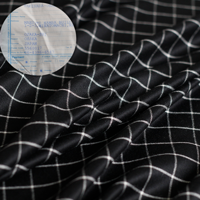 Pearlsilk black plaid worsted wool mulberry silk Yarn dyed garment materials autumn suit pants DIY clothes