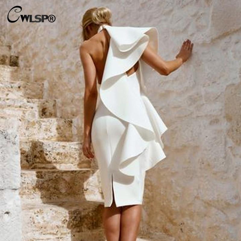 CWLSP 2018 Autumn Ribbed Ruffles Halter Long Women White Female Dress Elegant Korean Style Sleeveless Slim Clothes QZ3158