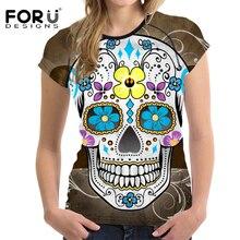 FORUDESIGNS Punk Style Women Summer T Shirt 3D Skull Woman Fashion Shirts Crop Tops O-onck Women Tops Tee Short Sleeved Clothes