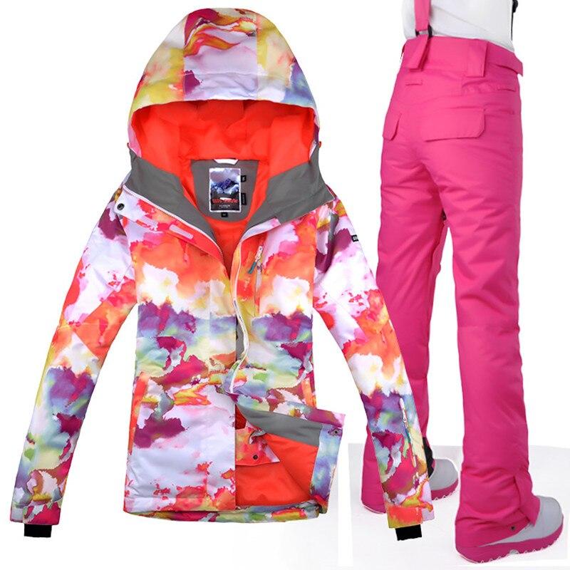 2017 Femmes Ski Veste + Pantalon Impression Style Coupe-Vent Imperméable Respirant Sport En Plein Air Usure Ski Snowboard Equitation Super Chaud Ensemble