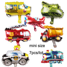 7pcs/lot mini size car foil balloons plane train tank school bus toy hand toys for birthday gift party