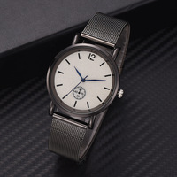 Fashion trend blue watch pin personality quartz watch mesh with casual business men's and women's watches