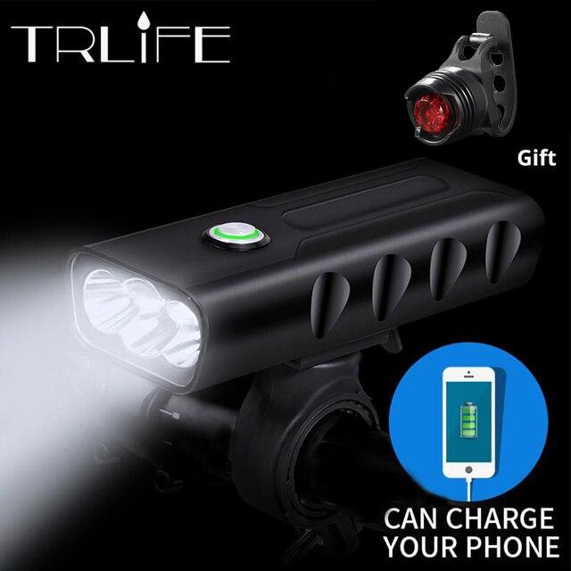 15000Lum 2/3 * L2/T6 USB נטענת מובנה 5200 mAh 3 מצבי אופניים אור עמיד למים פנס אופני אביזרי עם טאיליט