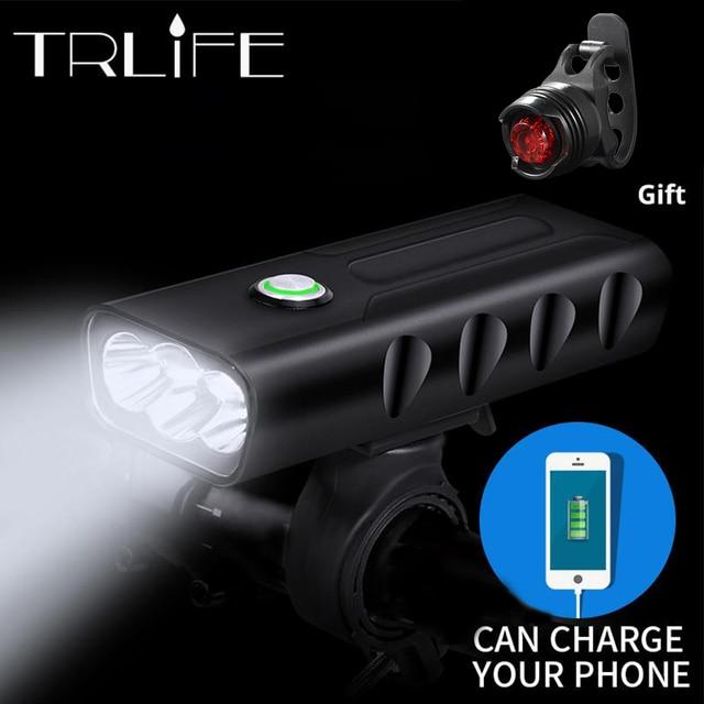 15000Lum 2/3 * L2/T6 USB recargable incorporada de 5200 mAh 3 modos de luz de la bicicleta impermeable Faro de bicicleta accesorios luz trasera