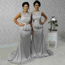 Sexy 2016 Mermaid Boat Neck Backless Gray Pink Lace Long Bridesmaid Dresses Wedding Court Train Party
