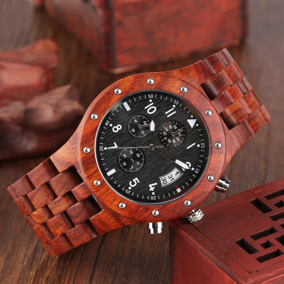 Wooden Watch Men erkek kol saati Top Luxury Stylish Redwood Timepieces Chronograph Military Date Calendar Quartz Watches for Men 2019 2020 2021 2022 (7)