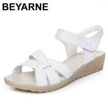 BEYARNE nueva sandalias de tacones de cuña de cuero genuino de las mujeres sandalias de verano zapatos de las señoras zapatos de mujer zapatos de las mujeres