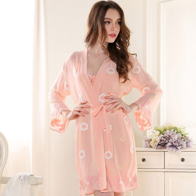 Pijama Full Solid Top Fashion Special Offer Polyester Robes Women Dress 2016 Sexy Gown Embroidered Nightgown Two Piece